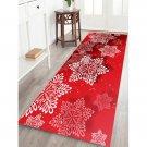 "24"" x  71"" Red Snowflake Printed Christmas / Winter Decorative Area Rug"