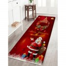 "24"" x L 71"" Dark Red Santa and Christmas Tree Printed Decorative Area Rug"