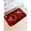 "20"" x 31.5"" Dark Red Santa and Christmas Tree Printed Decorative Bath Mat"