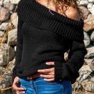 Large Turn-down Collar Knit Sweater , Black