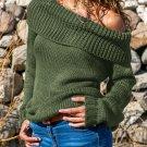 X-Large Turn-down Collar Knit Sweater , Green