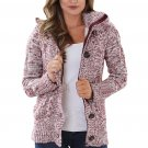 X-Large Long Sleeve Button-up Hooded Cardigan , Red