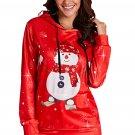 Large Snowman Printed Christmas Hoodie / Sweater , Red