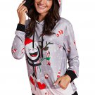 Small Women's Candy Cane Printed Christmas Hoodie / Sweater , Gray