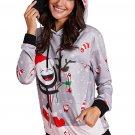 Medium Women's Candy Cane Printed Christmas Hoodie / Sweater , Gray