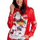 2X-Large Santa Claus Printed Christmas Hoodie / Sweater , Red