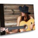 Girl With Guitar  Framed Canvas Print Art Wall 12x8
