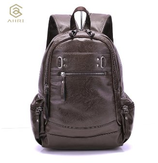 AHRI Backpacks for men Bag PU Black Leather Men's Shoulder Bags