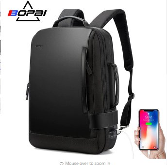 BOPAI Brand Enlarge Backpack USB External Charge 15.6 Inch Laptop
