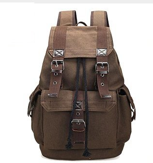 Unisex Canvas Backpack School Rucksack Men Drawstring