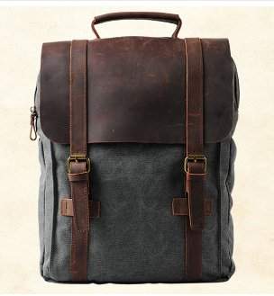 Fashion Male Backpack Leather military Canvas backpack Men backpack