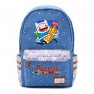 Adventure Time Finn and Jake Canvas bag Flowers wave point Rucksacks backpack
