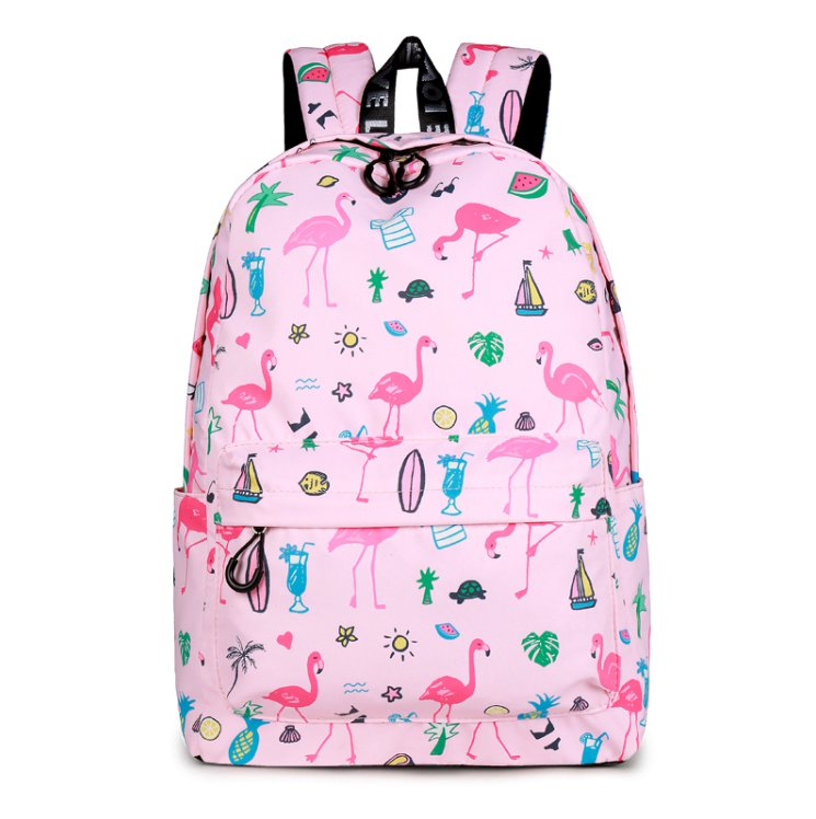 Designer Brand Women Cute Flamingo Printing School Backpack