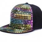 Personality sequins baseball caps flat brim outdoor hats girls boy bling Punk, hip hop cap