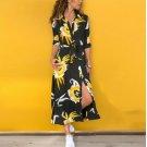 Long Sleeve Floral Print Shirt Dress Women Turn-down Collar Chiffon Beach Dress 2019