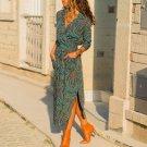 2019 Turn-down Collar Long Sleeve Print Office Ladies Dress Women Casual Pocket Beach Dress Plus