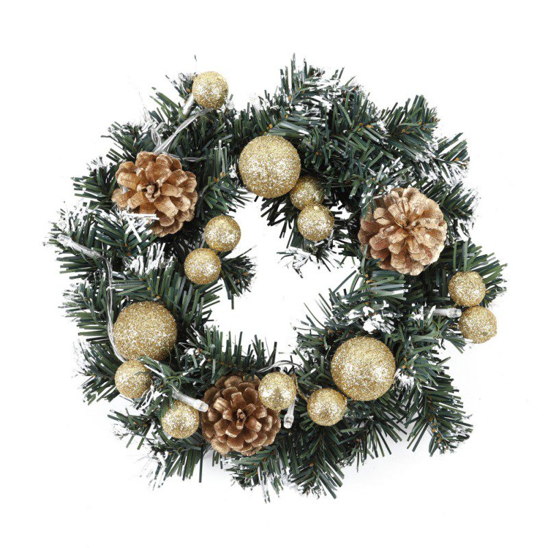 40cm LED Christmas Wreath With Artificial Pine Cones Berries And Flowers