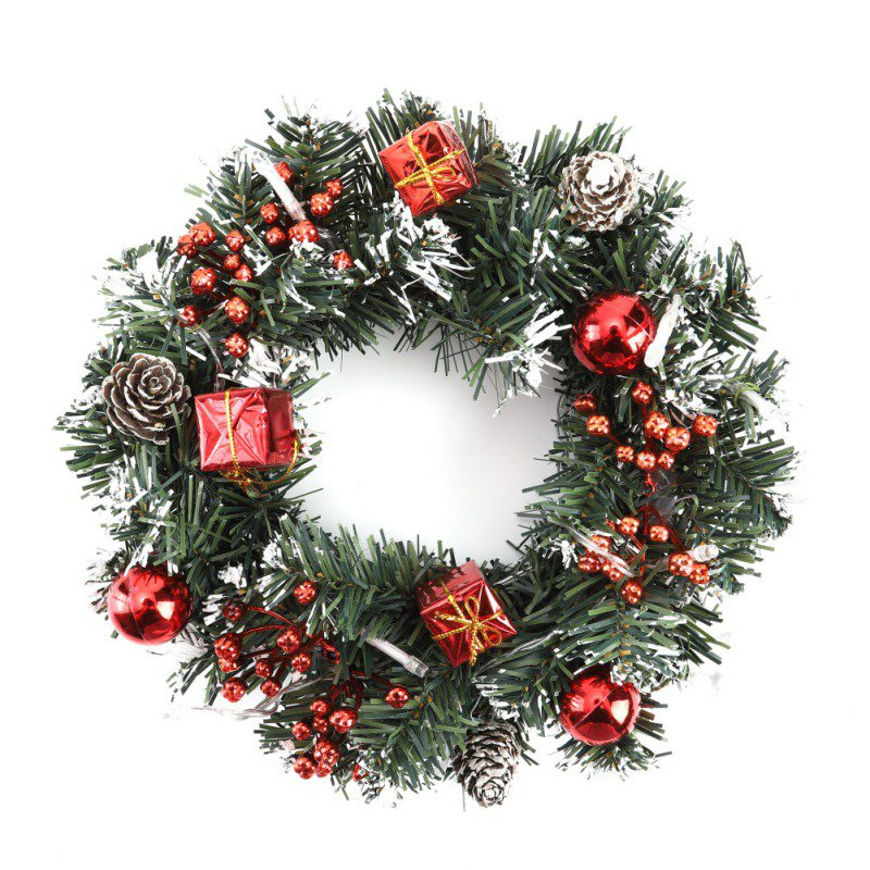 40cm LED Christmas Wreath Holiday Front Door Hanging Decoration