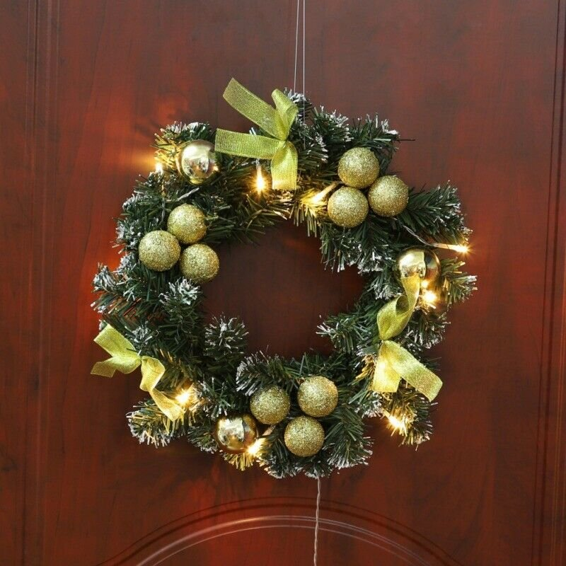Christmas Wreath With Battery Powered LED Light String Front Door Hanging Garlan