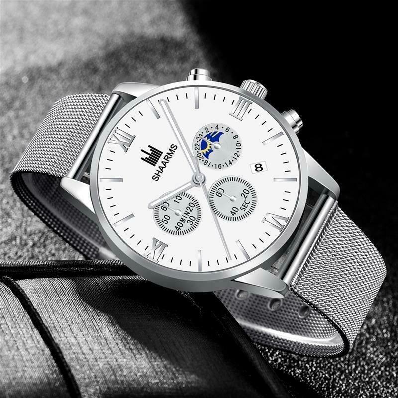 Stainless Steel Quartz Date Wristwatch Luxury Business Watch