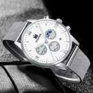 Stainless Steel Quartz Date Wristwatch Luxury Business Watch