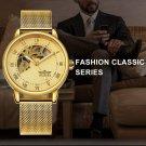 Golden Mechanical Watch Men Mesh Strap Roman Arabic Number Skeleton Dial