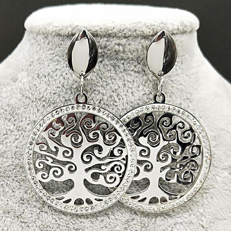 Tree Of Life Crystal Stainless Steel Stud Earring for Women Big Silver Color Ear