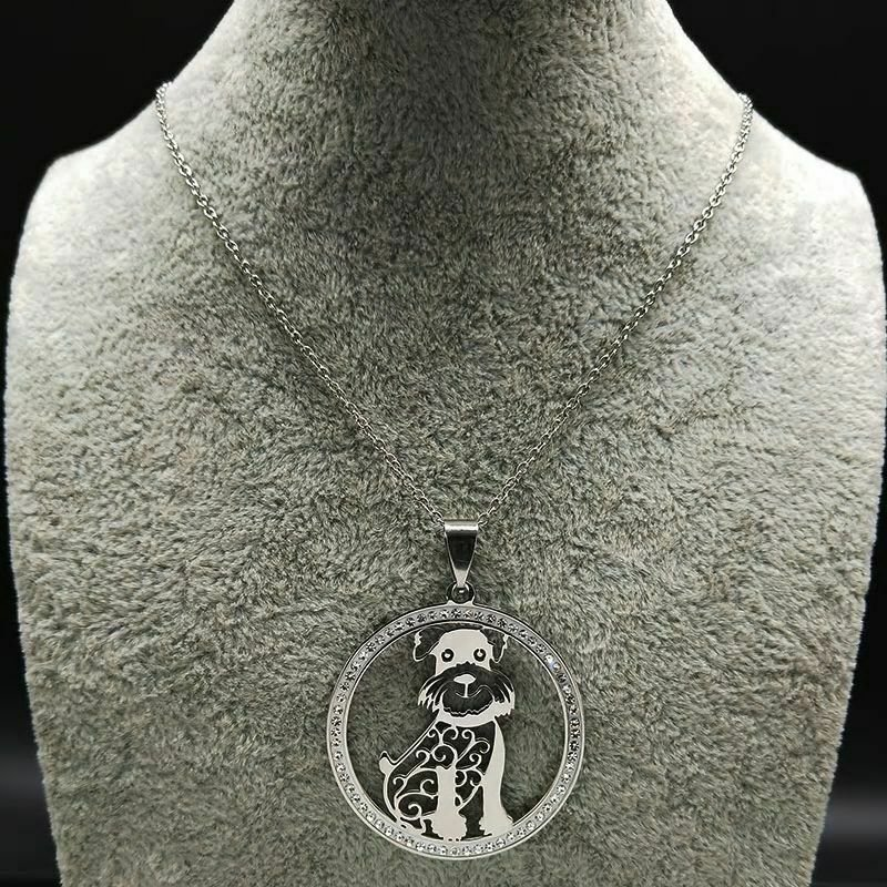 Schnauzer Crystal Stainless Steel Pendant Necklace