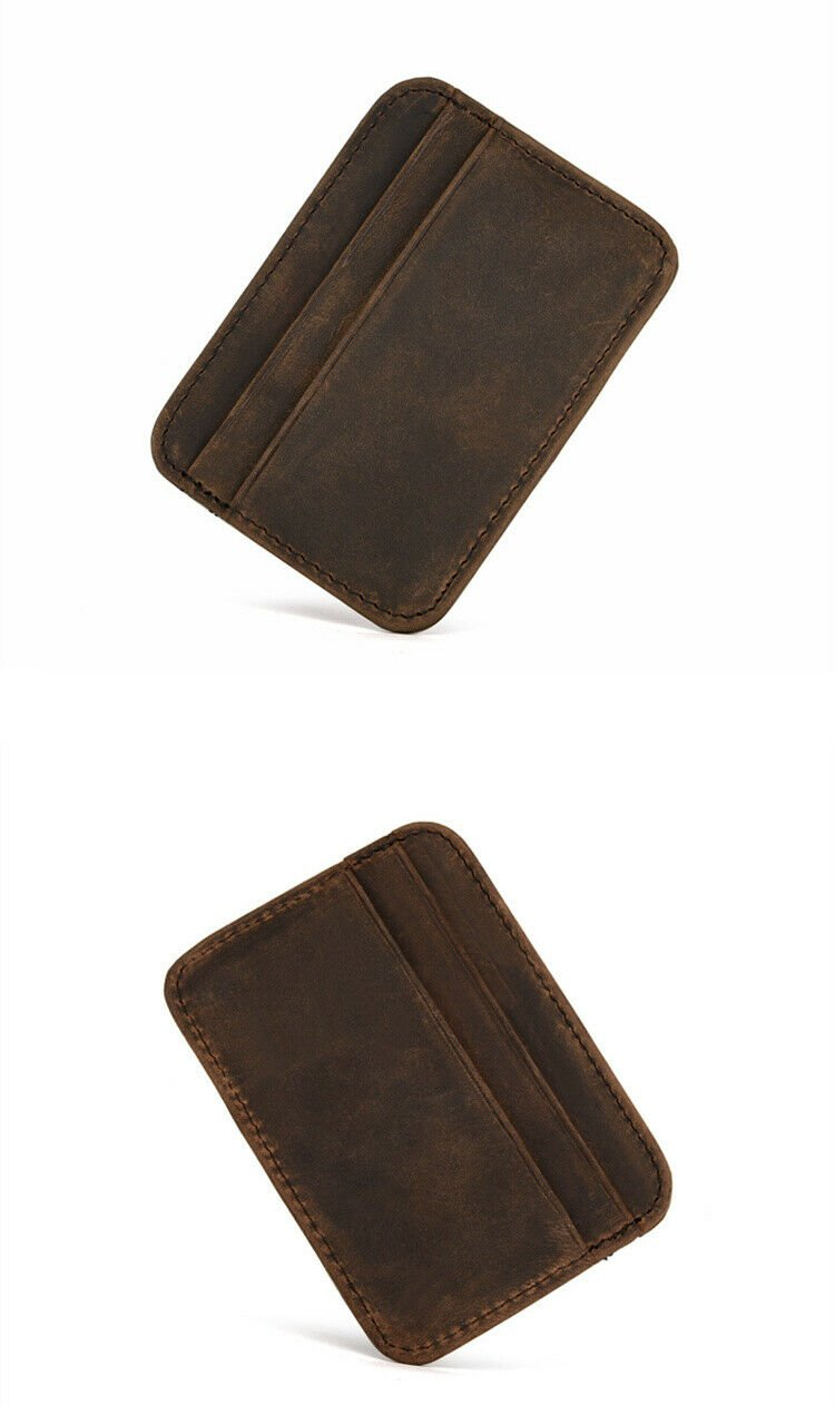 Genuine Leather Thin Card Case Mens Front Pocket Card Holder Purse Slim Wallet M