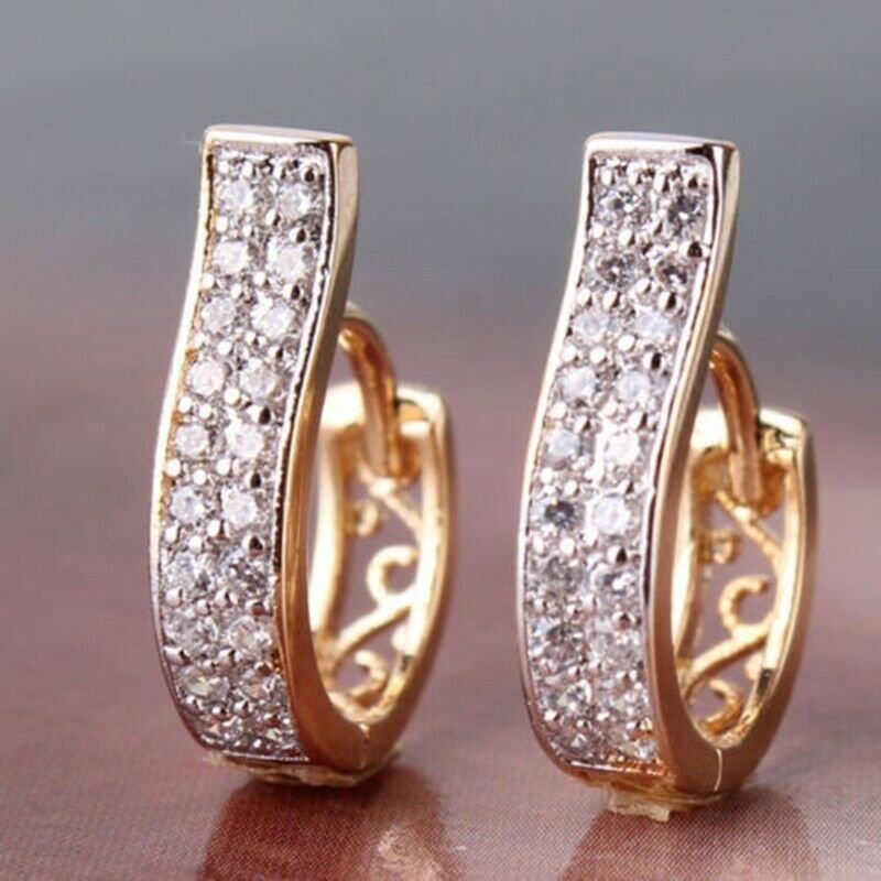 Women's gold color stainless steel stud earrings