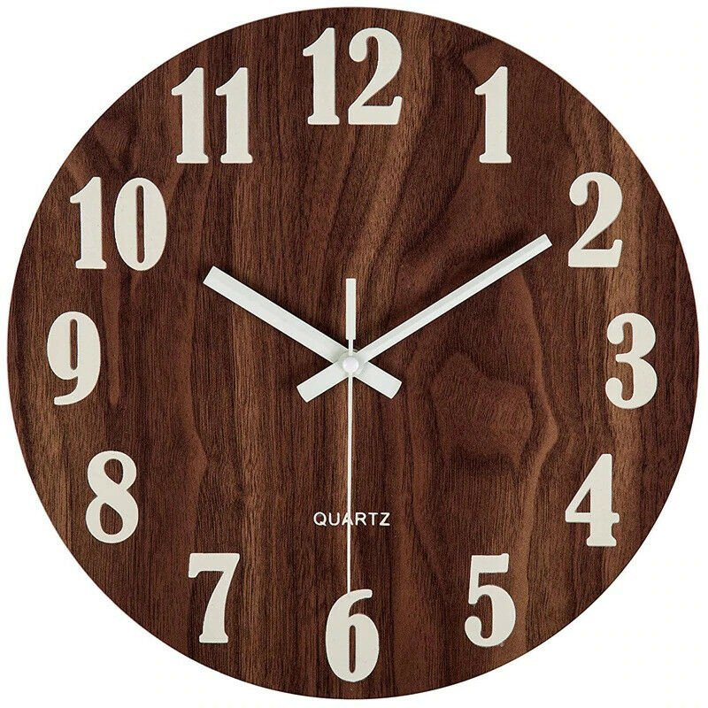 12 Inch Night Light Function Wooden Wall Clock Vintage Rustic Country Tuscan Sty