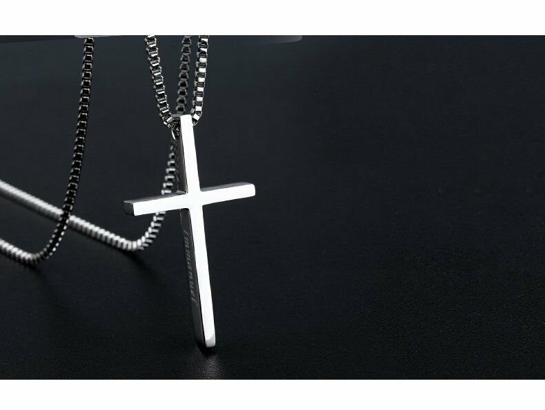 Titanium Steel Cross Pendant Necklace Classic Stainless Steel Jewelry for Men