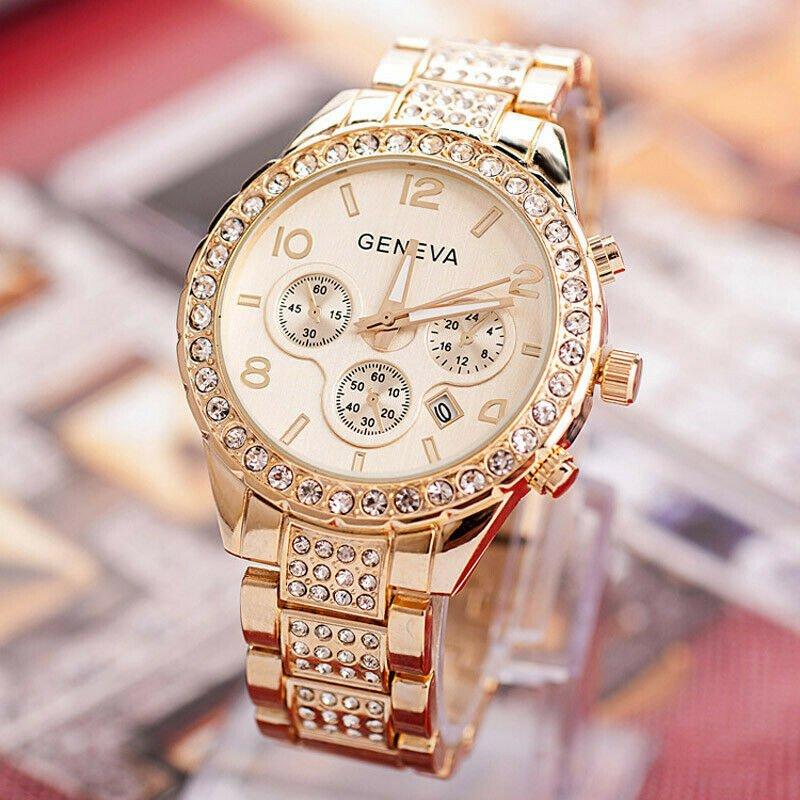 Ladies Gold Steel Quartz Watch Geneva Casual Crystal Rhineston