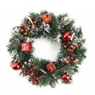 40cm LED Christmas Wreath With Artificial Pine Cones Berries And Flowers Holiday