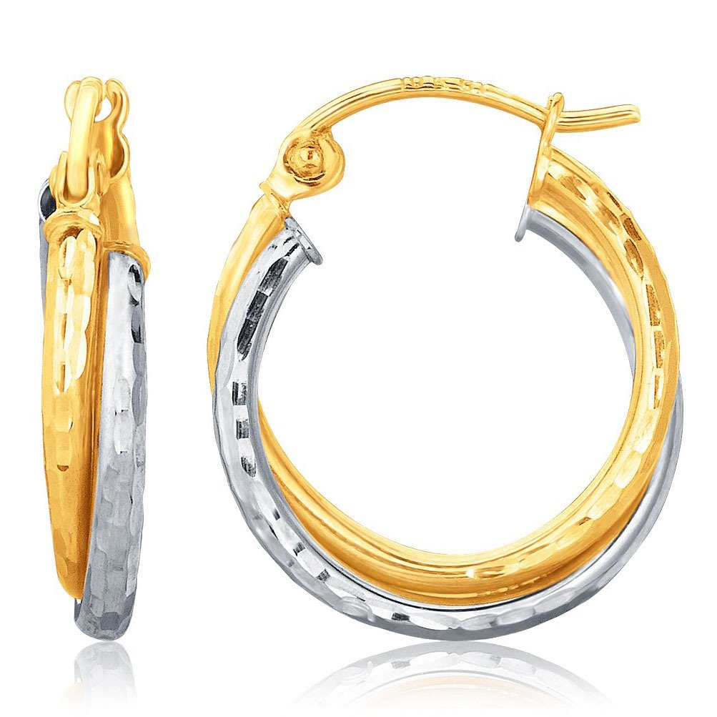 14K Two-Tone Gold Hammered Texture Interlaced Hoop Earrings