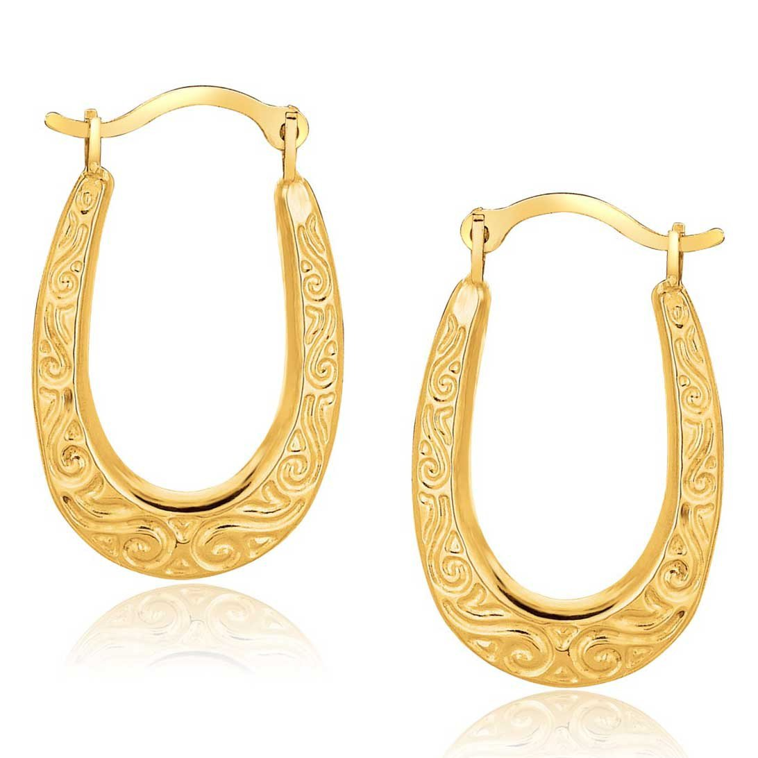 10K Yellow Gold Embossed Oval Hoop Earrings