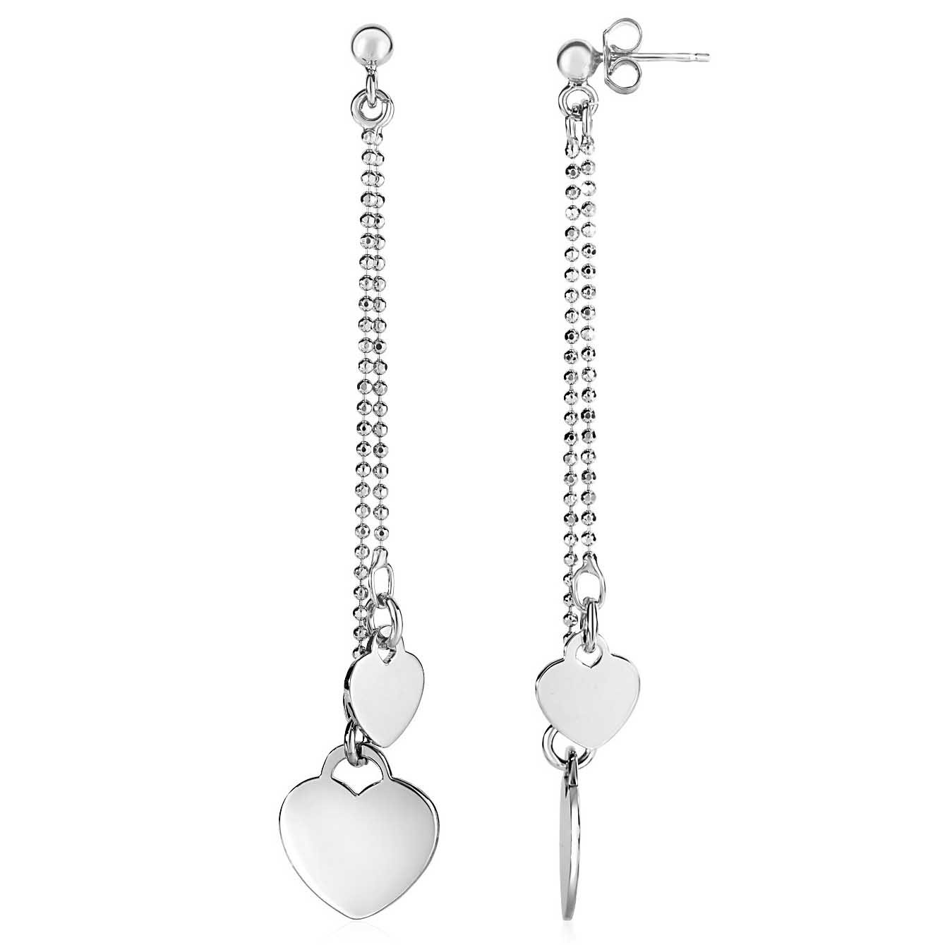 """Hamunaptra Heart 3"""" Drop Earrings Sterling Silver with pushbacks"""