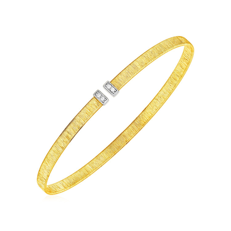 14k Yellow Gold Narrow Silk Textured Cuff Bangle with Diamonds