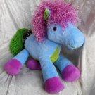 Blue Horse plush HANDMADE stuffed Pony purple Hair unique Home Decor for Horse Lovers ooak