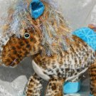 Stuffed Pony plush APPALOOSA Handmade Wild Horse soft toy LEOPARD Home decor turquoise beige