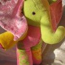 Baby Elephant HANDMADE pink yellow green stuffed elephant plush nursery decor unique soft toy