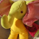 Unique Elephant plush HANDMADE yellow green fuchsia stuffed animal nursery baby shower soft toy