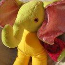 Unique Elephant plush HANDMADE yellow green fuchsia stuffed animal nursery baby shower soft toy