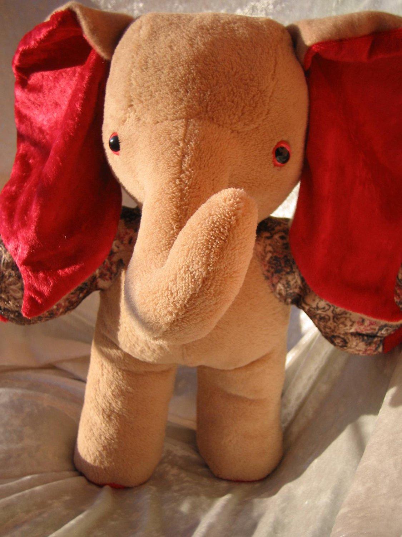 Teddy Elephant HANDMADE beige red Christmas Decor soft toy elephant stuffed animal nursery