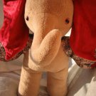 Teddy Elephant HANDMADE beige red Christmas Decor soft toy elephant stuffed animal nursery
