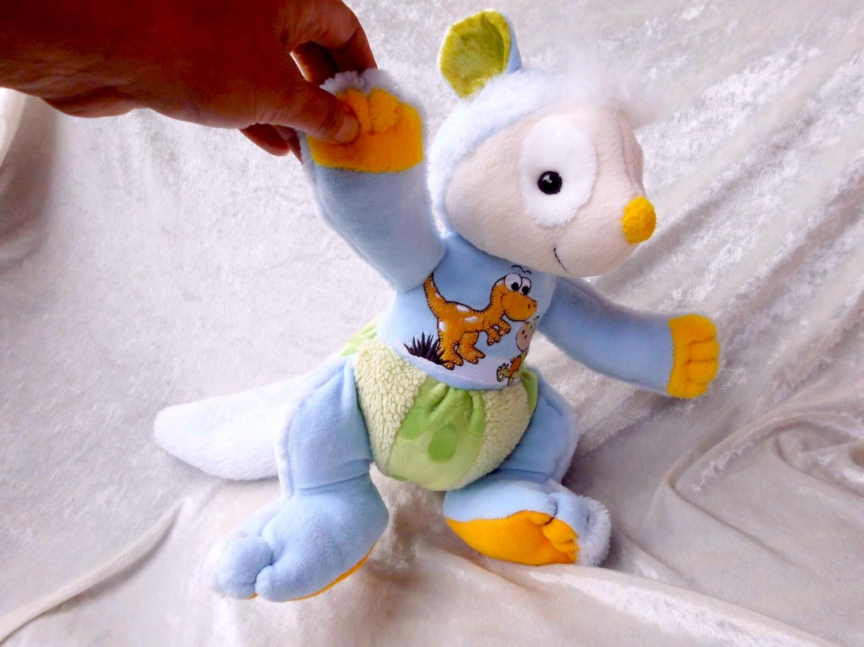 Blue DORMOUSE Plush Doll with Dragon stuffed animal for Boys HANDMADE unique soft toy Dinosaur