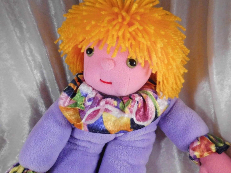 YELLOW HAIR unique Doll stuffed Clown plush lavender OOAK blond boy soft toy purple HANDMADE