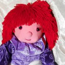 RED HAIR Doll PURPLE stuffed Clown plush unique red haired soft toy ooak HANDMADE