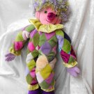 TALL RAINBOW CLOWN Soft Doll diamonds Home Decor Collectible unique stuffed circus clown handmade