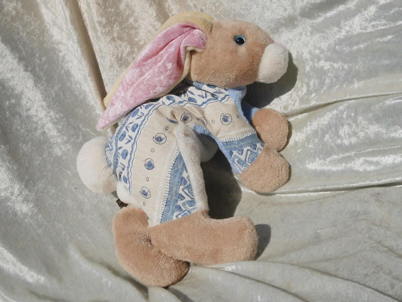 VANILLA BISCUIT BUNNY Decor HANDMADE Beige Baby Blue Rabbit floppy decorative collectible